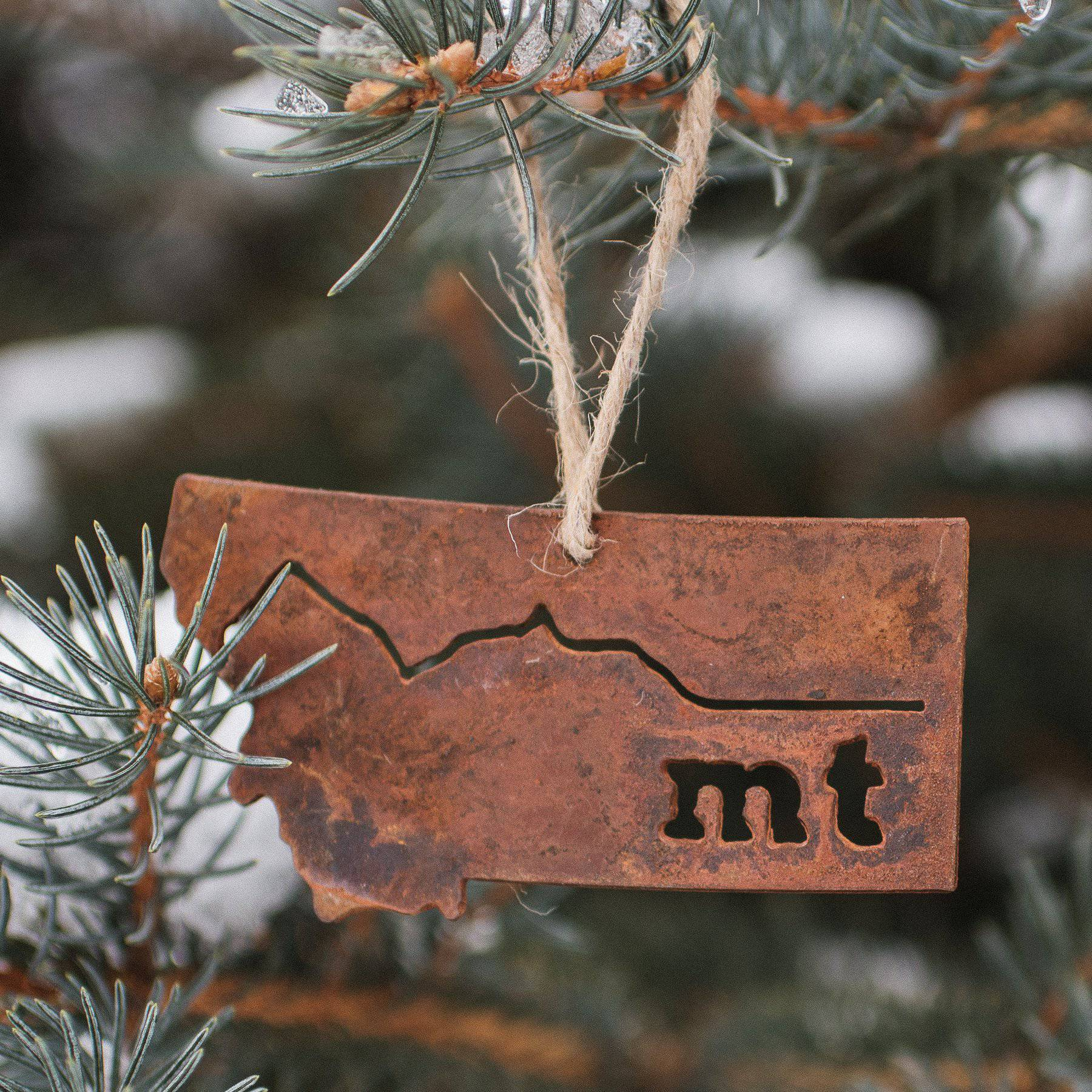Metal Montana Mountains Ornament - MONTANA SHIRT CO.