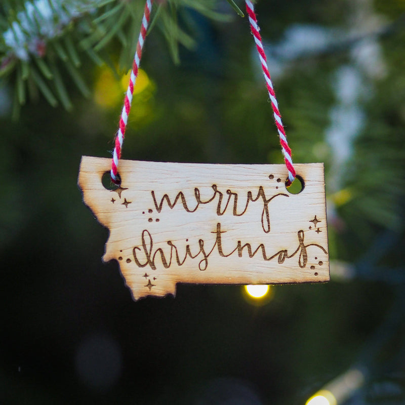 Merry Christmas Wood Ornament - MONTANA SHIRT CO.