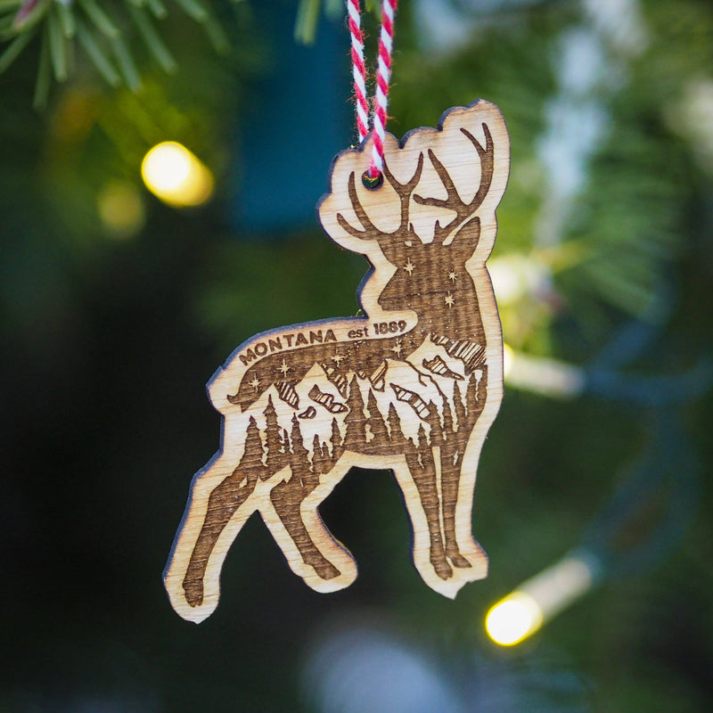 Montana Deer Wood Ornament - MONTANA SHIRT CO.