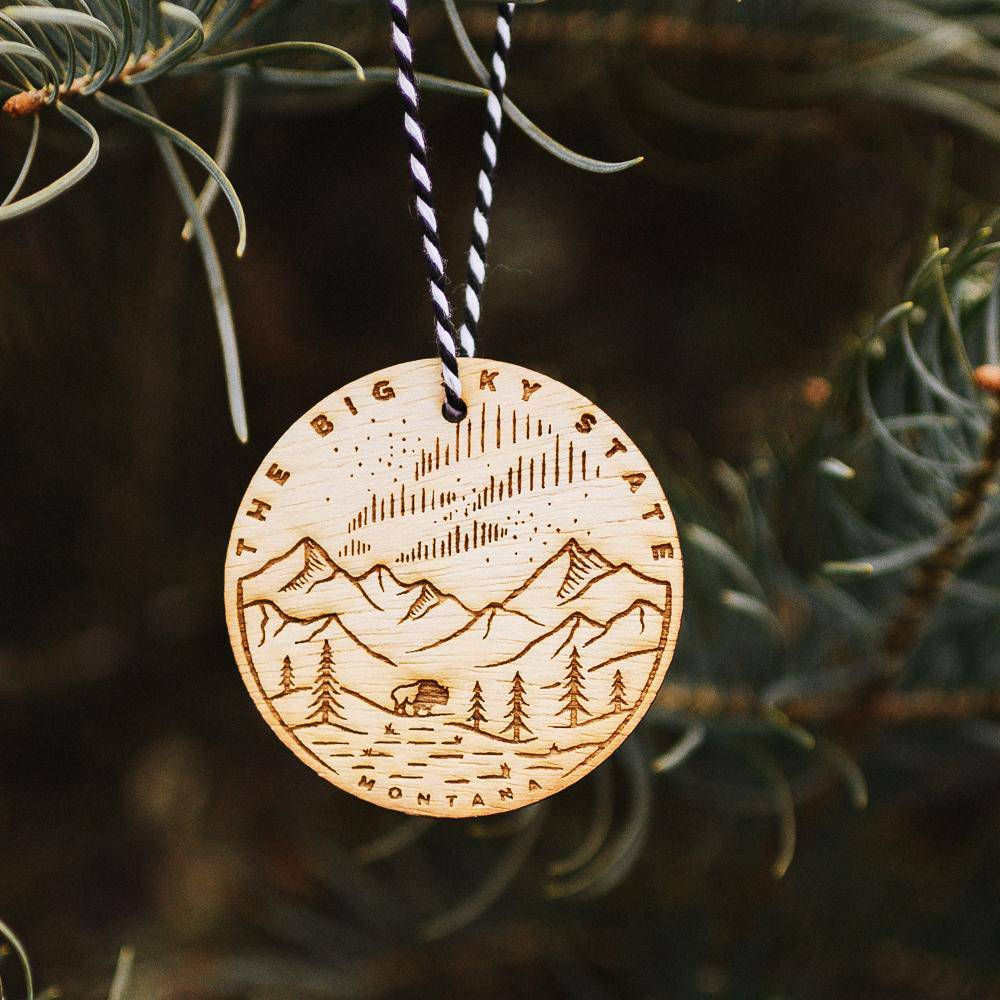 Big Sky State Wood Ornament - MONTANA SHIRT CO.