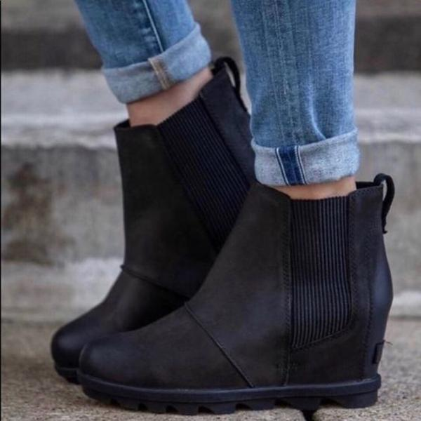 Flamechill Women Fashion Chelsea Wedge Boots