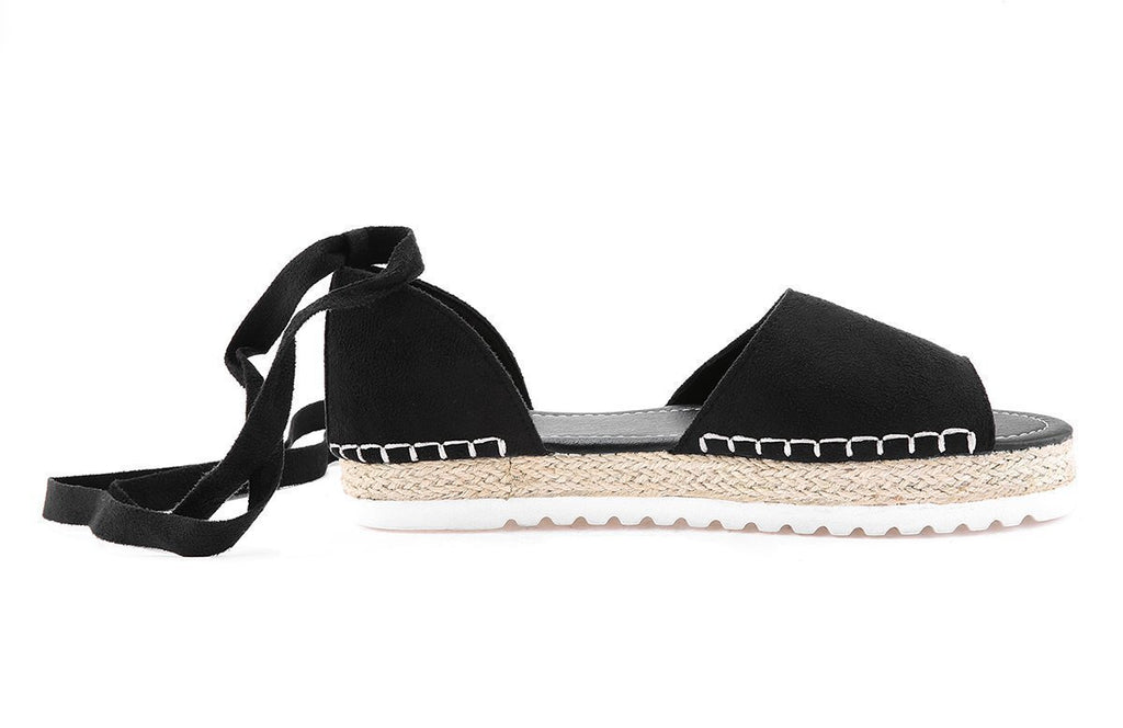 Flamechill Peep Toe Lace-up Espadrilles Flats