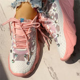 Flamechill Wedding Mesh Diamante Trim Lace-Up Sneakers