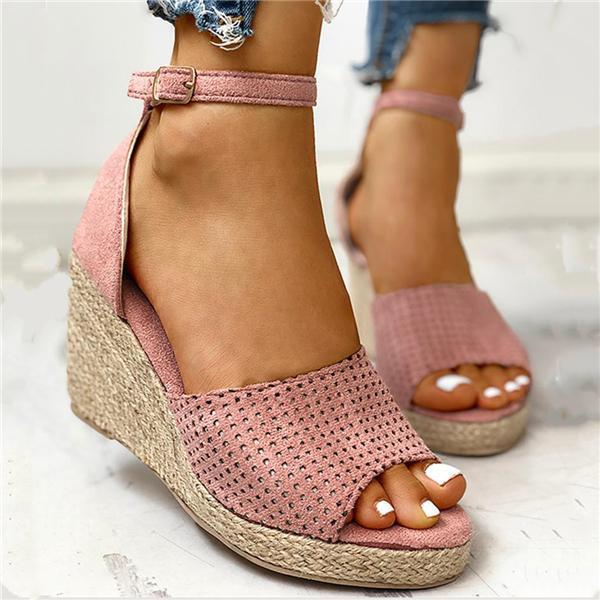 Flamechill Ankle Strap Espadrille Wedge Sandals