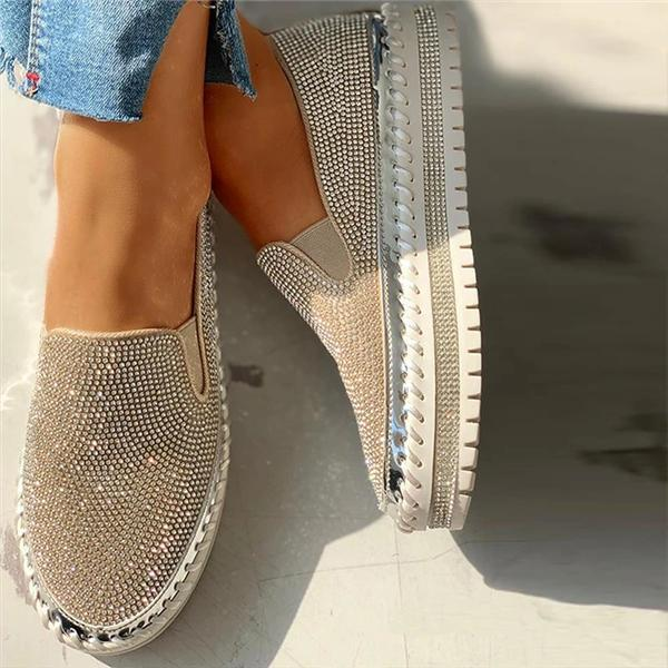 Flamechill Women Casual Fashion Rhinestone Slip-on Loafers/ Sneakers