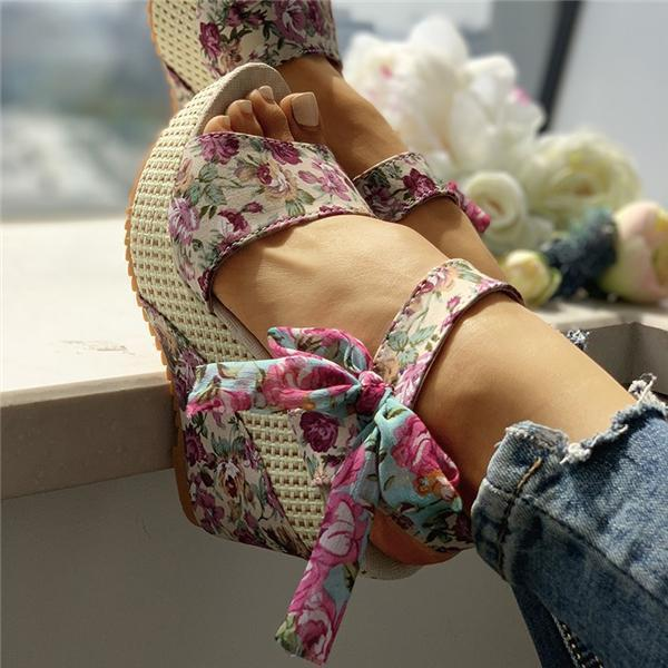 Flamechill Bowknot Design Platform Espadrille Wedge Sandals