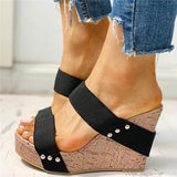Flamechill Rivet Detail Platform Wedge Sandals