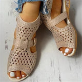 Flamechill Studded Hollow Out Peep Toe Buckled Sandals