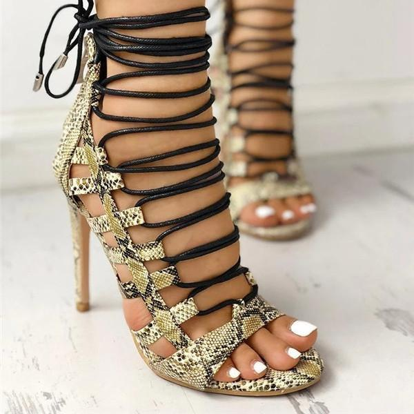 Flamechill Open Toed Lace-Up Thin Heeled Sandals