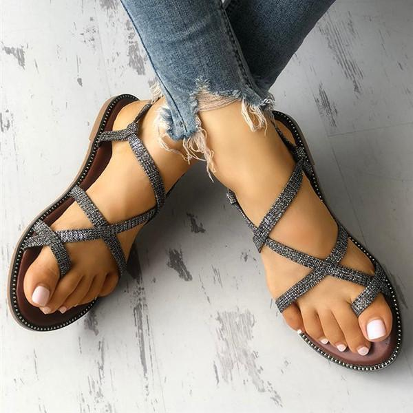 Flamechill Sparkle Crisscross Strappy Toe Post Flat Sandals