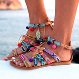Flamechill Bohemian Gladiator Adjustable Buckle Flats Beach Sandals