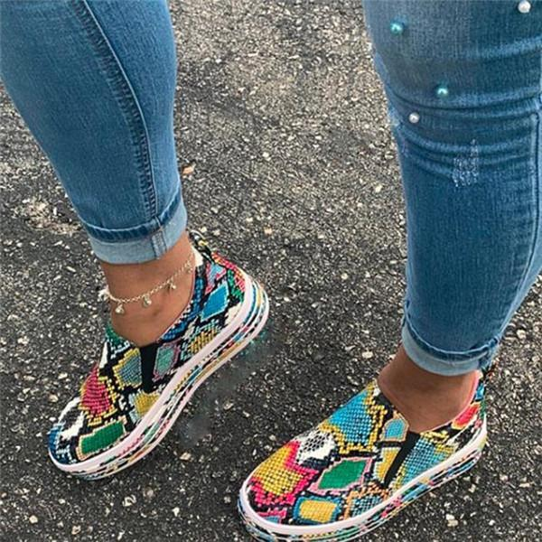 Flamechill Multi Colored Snake Skin Printed Sneakers