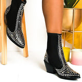 Flamechill Women Fashion Studded Embellished Western Boots