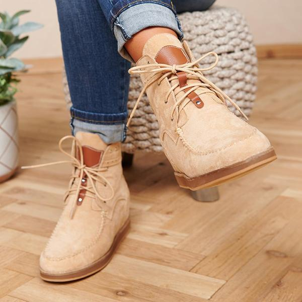 Flamechill Faux Suede Lace Up Booties
