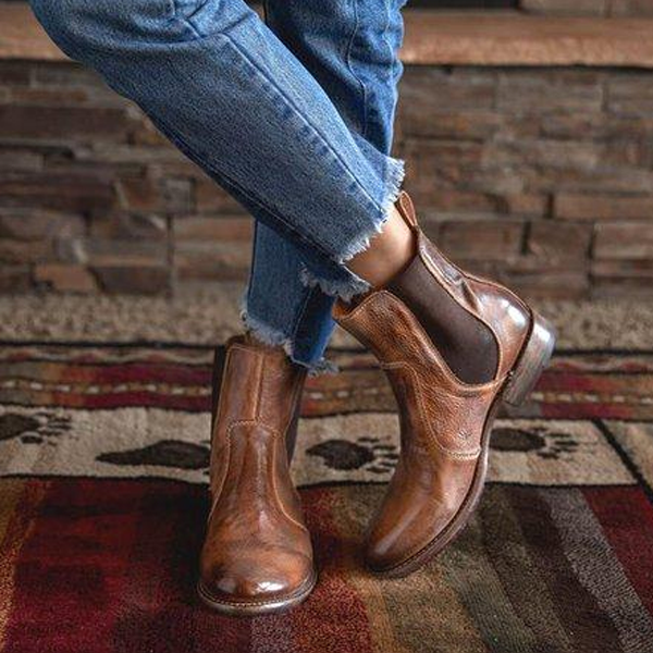 Flamechill Vintage Low Heel Pull-on Ankle Boots