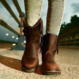 Flamechill Fashion Mid-calf Low Heel Brown Boots