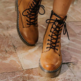 Flamechill Daily Outdoor Lace-up Low Heel Boots
