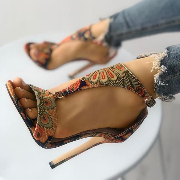 Flamechill Peacock Feather Print T-Strap Thin Heeled Sandals
