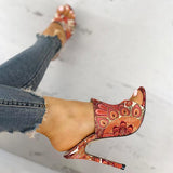 FlamechillStylish Print High Heel Sandals