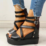 Flamechill Solid Multi-strap Peep Toe Muffin Sandals