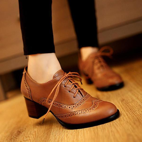 Flamechill British Style Carved Classy Lace Up Oxford Shoes