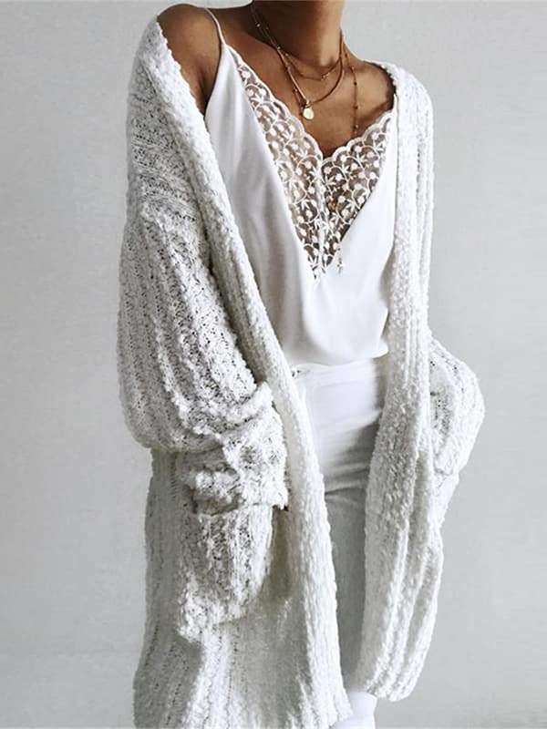 Flamechill Casual Long White Cardigan