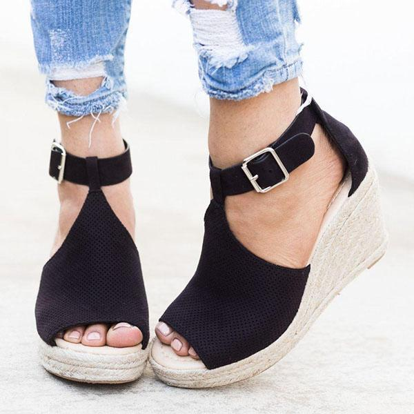 Flamechill Chic Espadrille Wedges Adjustable Buckle Sandals