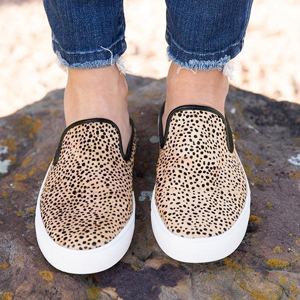 Flamechill Leopard&Camouflage Flats Canvas Sneakers