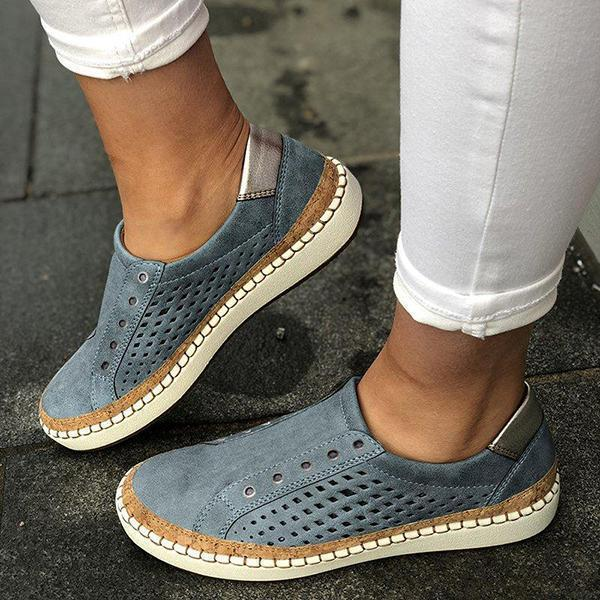 Flamechill Women Casual Summer Slip On Hollow-Out Sneakers