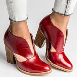 Flamechill Round Toe Women Chunky Heel Casual Pu Ankle Boots