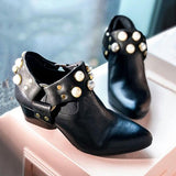 Flamechill Pearl Pointed Toe Ankle Boties Slip-On Women Boots