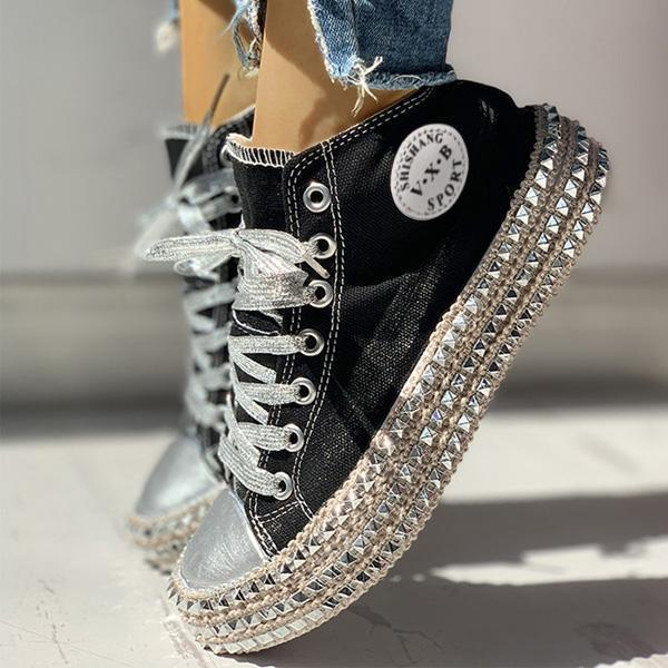 Flamechill Fashion Leopard Rivet Embellished Lace-Up Sneakers
