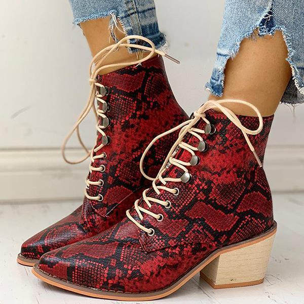 Flamechill Pointed Toe Lace-up Snakeskin Chunky Heeled Boots