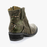 Flamechill Vintage Zipper Boots Fashion Block Heel Boots