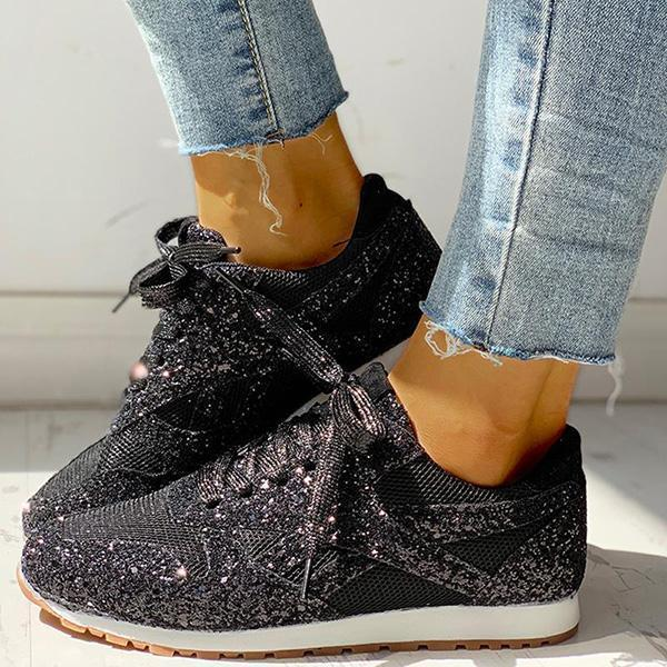 Flamechill Solid Sequins Lace-Up Sport Sneakers