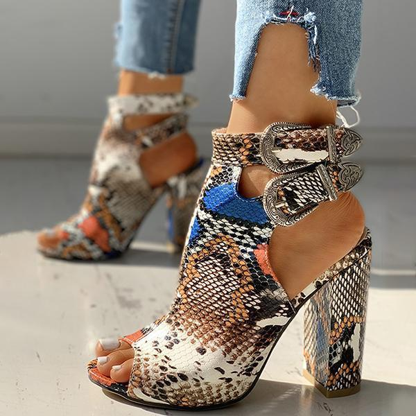 Flamechill Snakeskin Ankle Buckled Chunky Heels