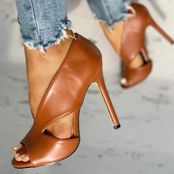 Flamechill Solid Peep Toe Cut Out PU Thin Heels