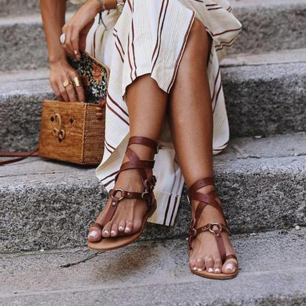 Flamechill Ankle Strap Flat Heel Strappy Comfortable Sandals