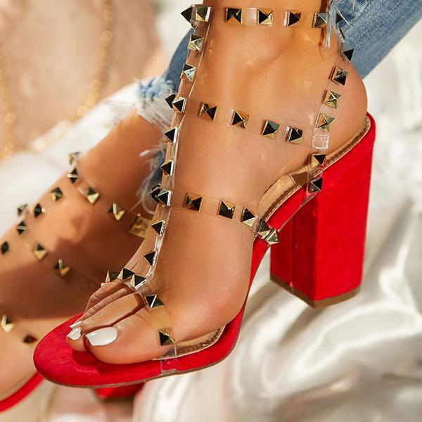 Flamechill Gold-Tone Studs Red Single Sole Hee Sandals
