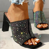 Flamechill Glitter Hot Stamping Open Toe Slingback Chunky Heeled Sandals
