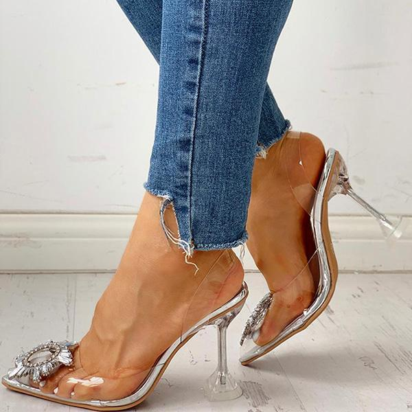 Flamechill Studded Pointed Toe Transparent Thin Heels