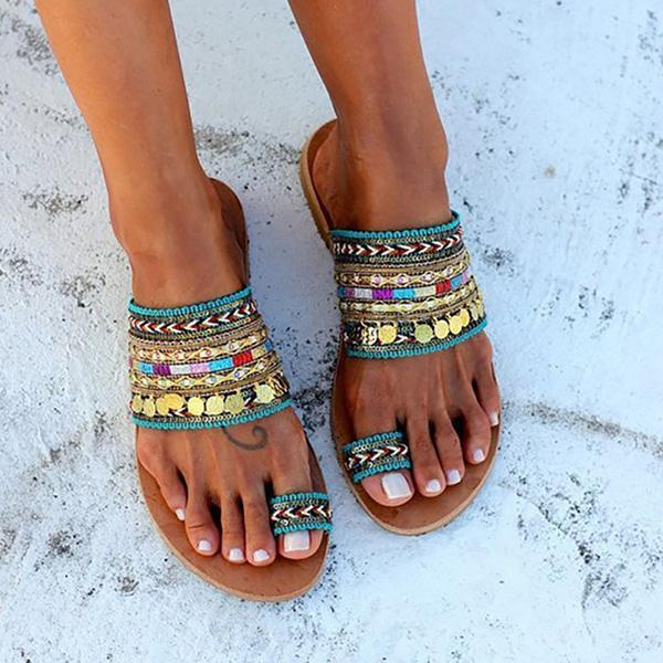 Flamechill Ethnic Boho Style Toe Ring Sandals