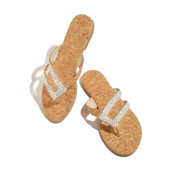 Flamechill Shiny Rainstone Casual Flip-flop Slippers
