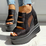 Flamechill Side Zipper Peep Toe Patchwork Platform Sandals