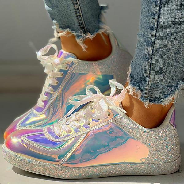 Flamechill Fashion Glitter Colorblock Lace-up Sneakers
