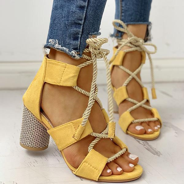 Flamechill Colourblock Lace-up Chunky Heels Open Toe Sandals