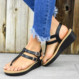 Flamechill Adjustable Buckle T-Strap Wedge Sandals