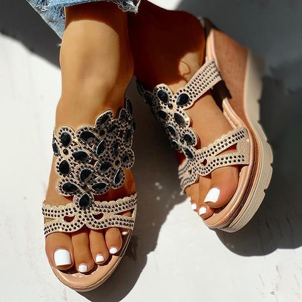 Flamechill Studded Platform Wedge Casual Slingback Sandals