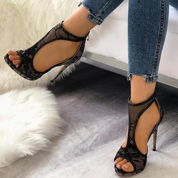 Flamechill Open Toe Cutout Lace Thin Heel Sandals