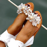 Flamechill Women Pearl Ankle Strap Flat Wedding Sandals